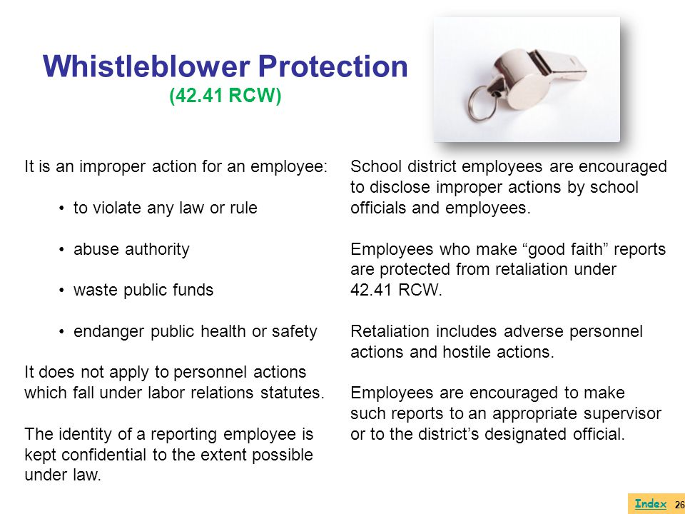 Whistleblower Protection (42.41 RCW)