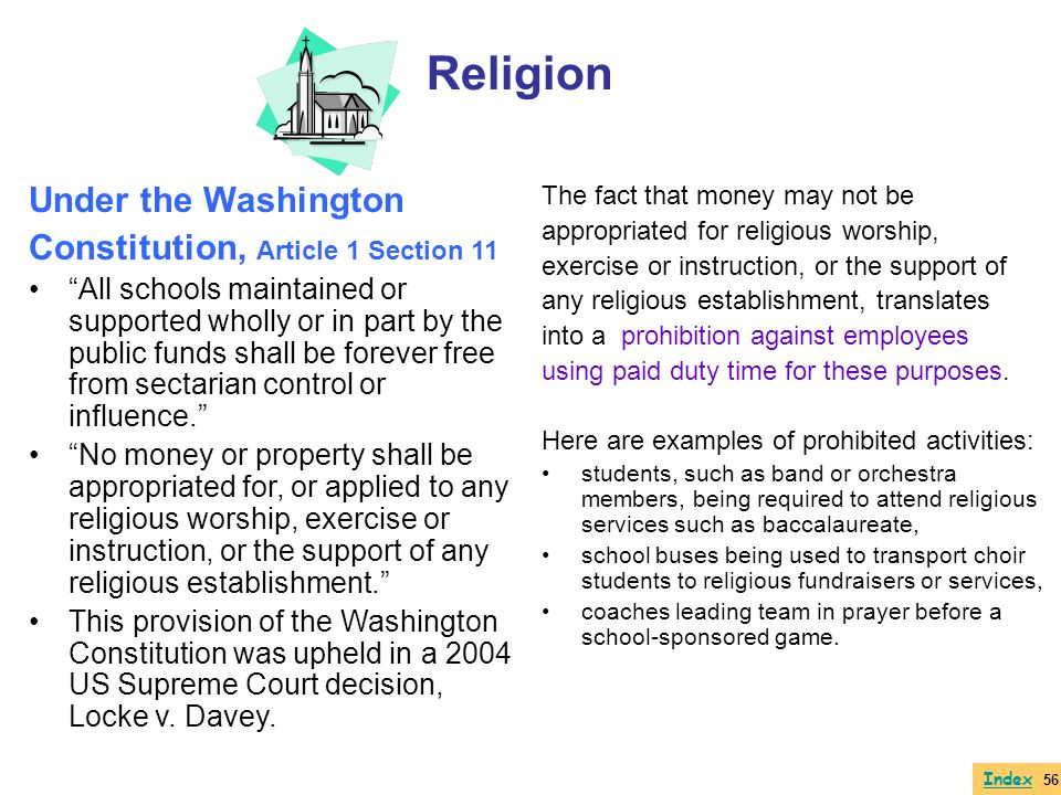 Religion Under the Washington Constitution, Article 1 Section 11