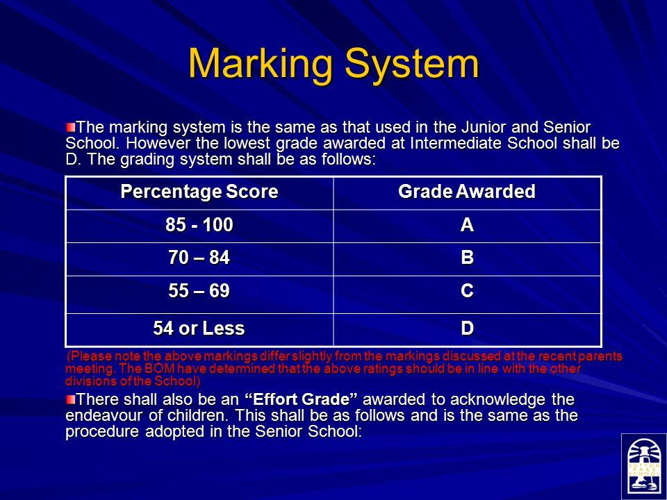 Marking System Percentage Score Grade Awarded 85 - 100 A 70 – 84 B