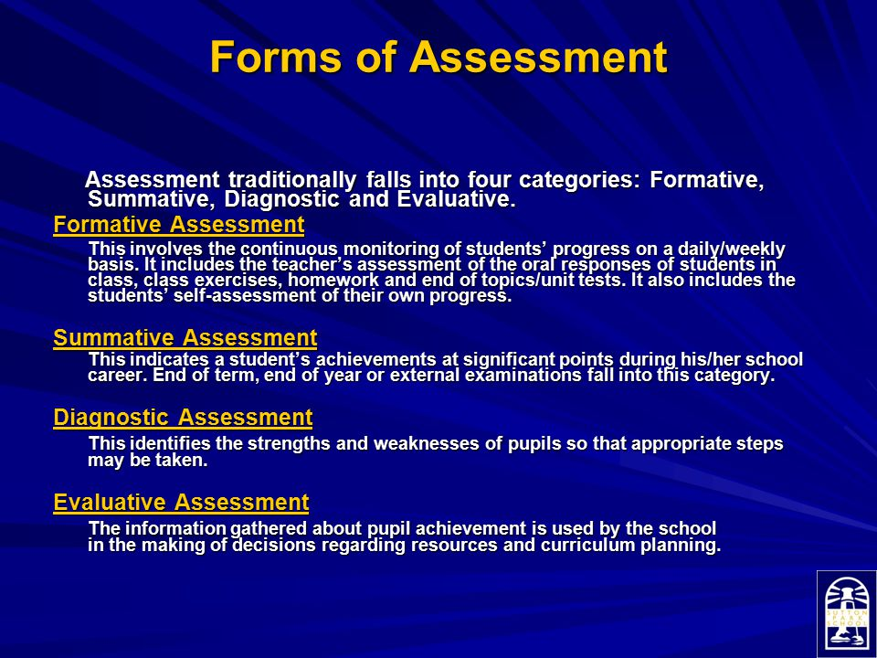 Forms of Assessment Assessment traditionally falls into four categories: Formative, Summative, Diagnostic and Evaluative.