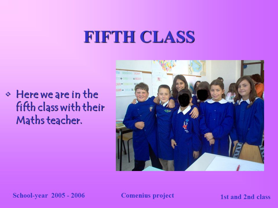 FIFTH CLASS Here we are in the fifth class with their Maths teacher.
