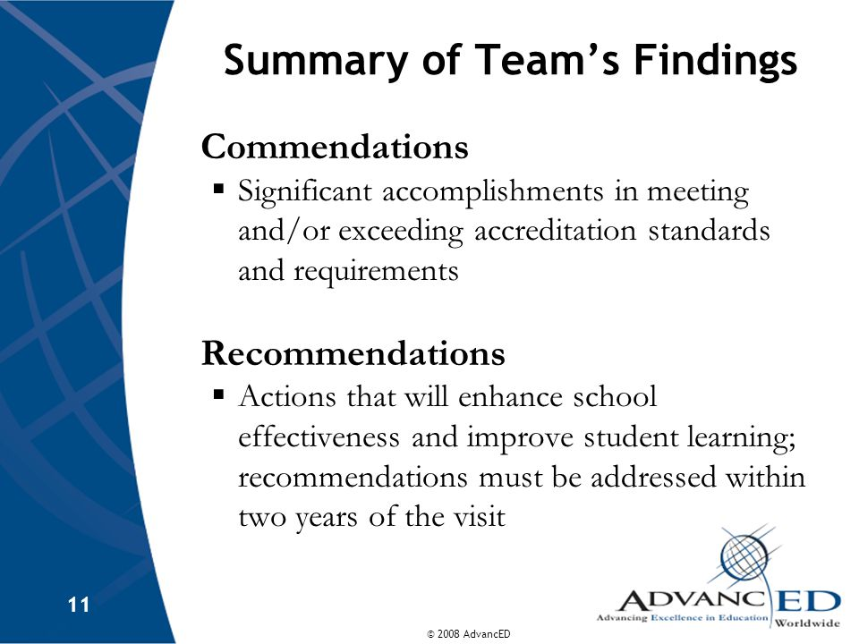 Summary of Team's Findings