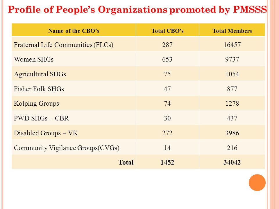 Profile of People's Organizations promoted by PMSSS
