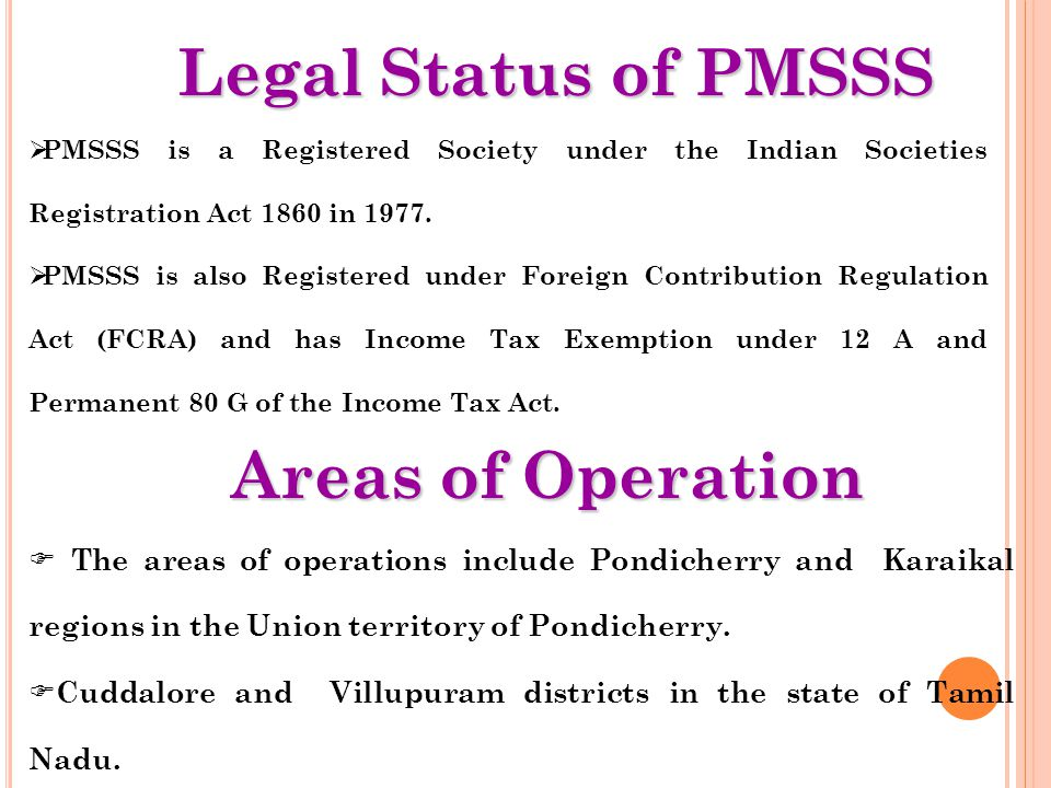 Legal Status of PMSSS Areas of Operation