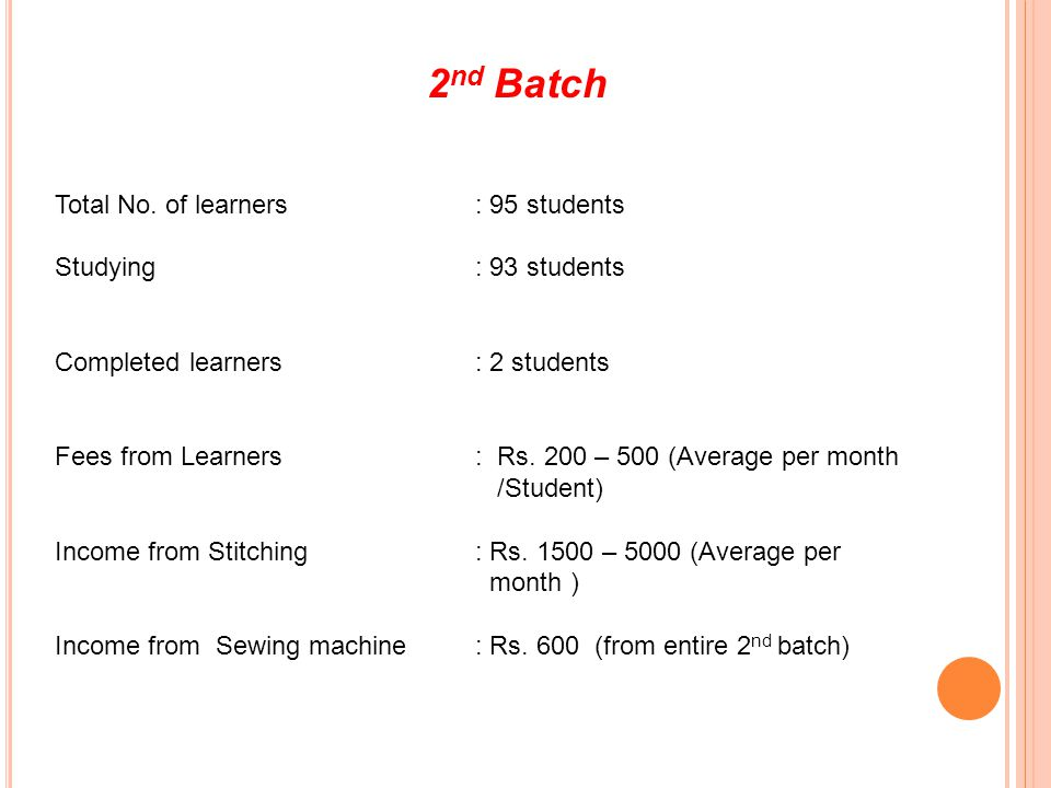 2nd Batch Total No. of learners : 95 students Studying : 93 students