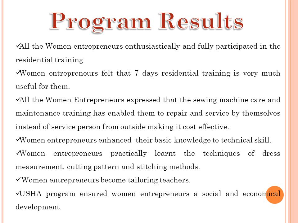Program Results All the Women entrepreneurs enthusiastically and fully participated in the residential training.