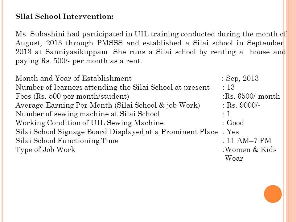 Silai School Intervention: