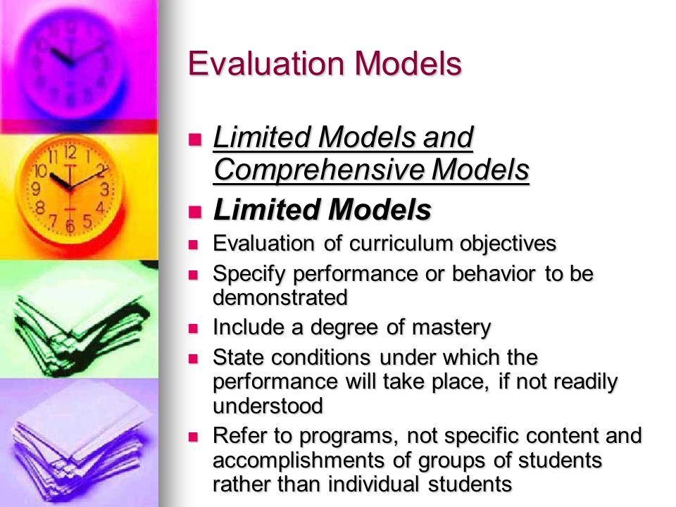Evaluation Models Limited Models and Comprehensive Models