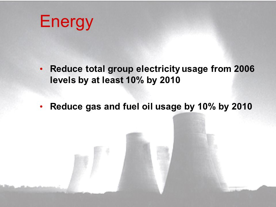 Energy Reduce total group electricity usage from 2006 levels by at least 10% by 2010.