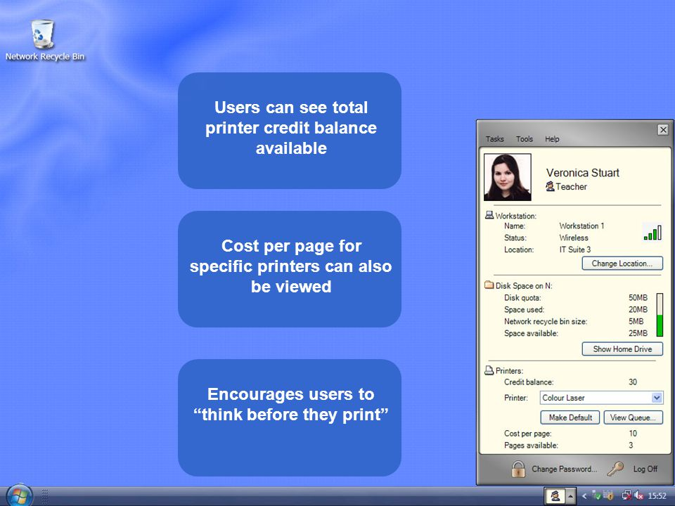Users can see total printer credit balance available