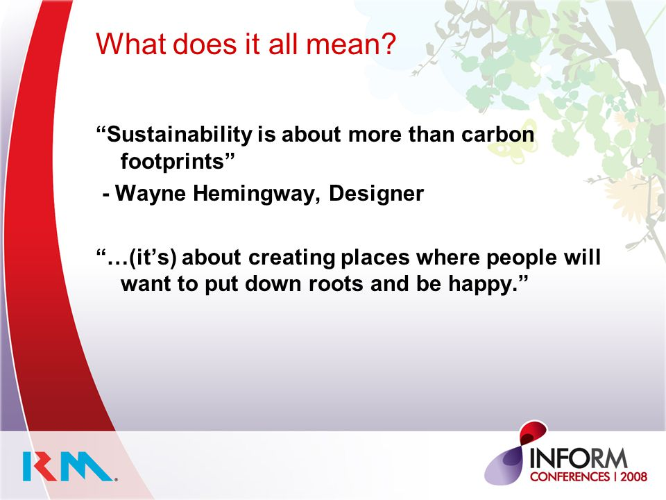 What does it all mean Sustainability is about more than carbon footprints - Wayne Hemingway, Designer.