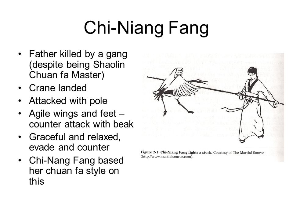 Chi-Niang Fang Father killed by a gang (despite being Shaolin Chuan fa Master) Crane landed. Attacked with pole.