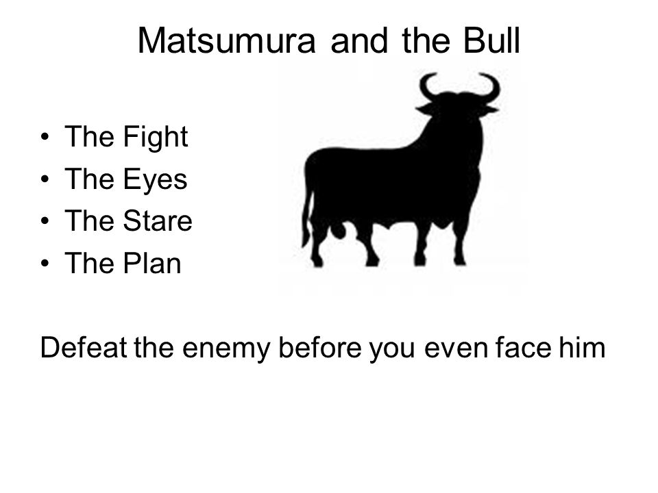 Matsumura and the Bull The Fight The Eyes The Stare The Plan