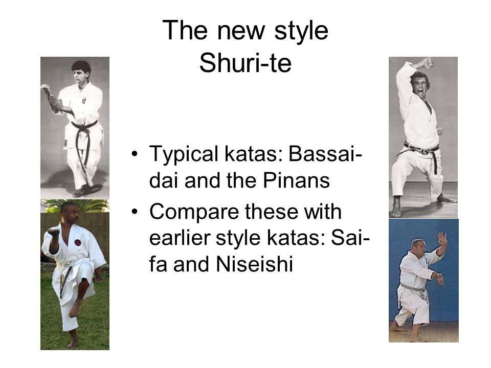 The new style Shuri-te Typical katas: Bassai-dai and the Pinans