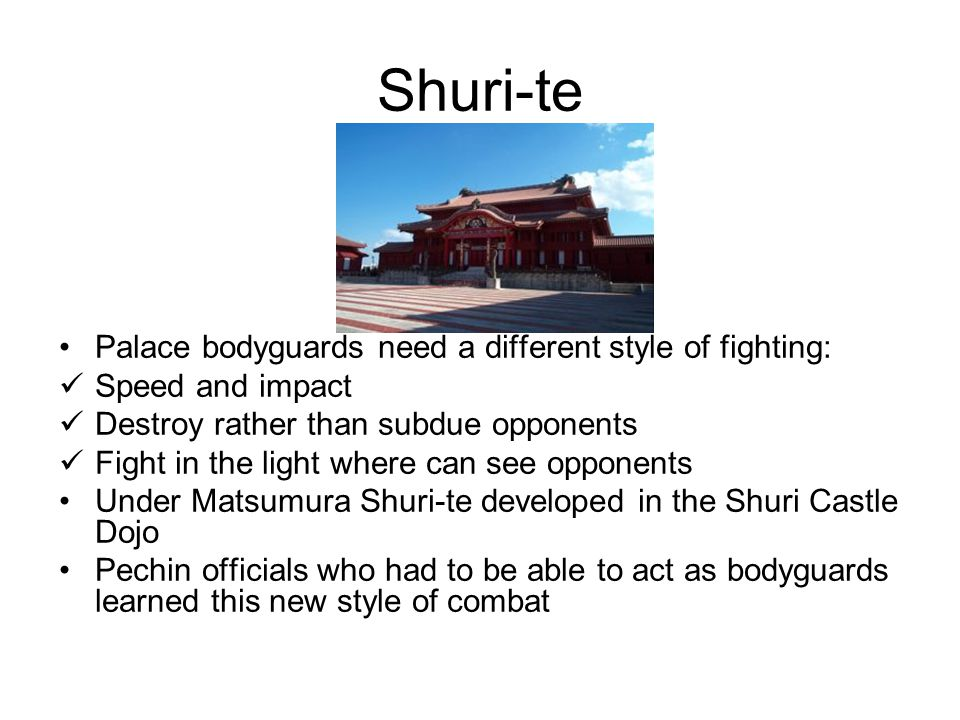Shuri-te Palace bodyguards need a different style of fighting: