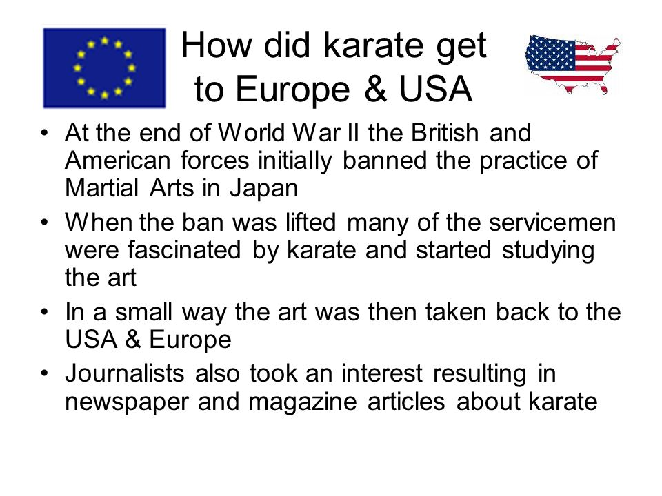 How did karate get to Europe & USA