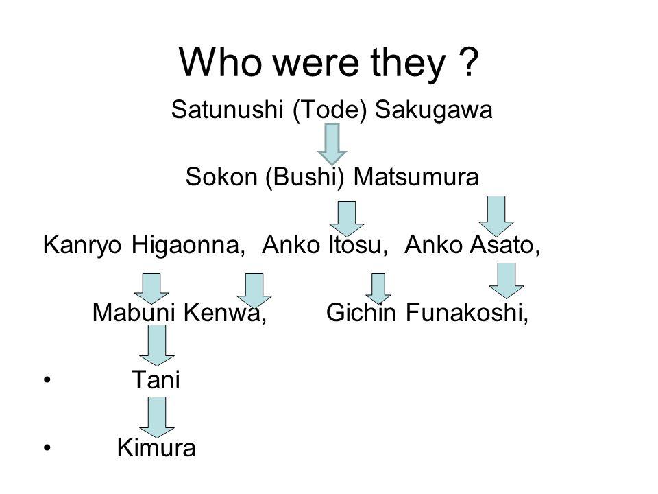 Who were they Satunushi (Tode) Sakugawa Sokon (Bushi) Matsumura