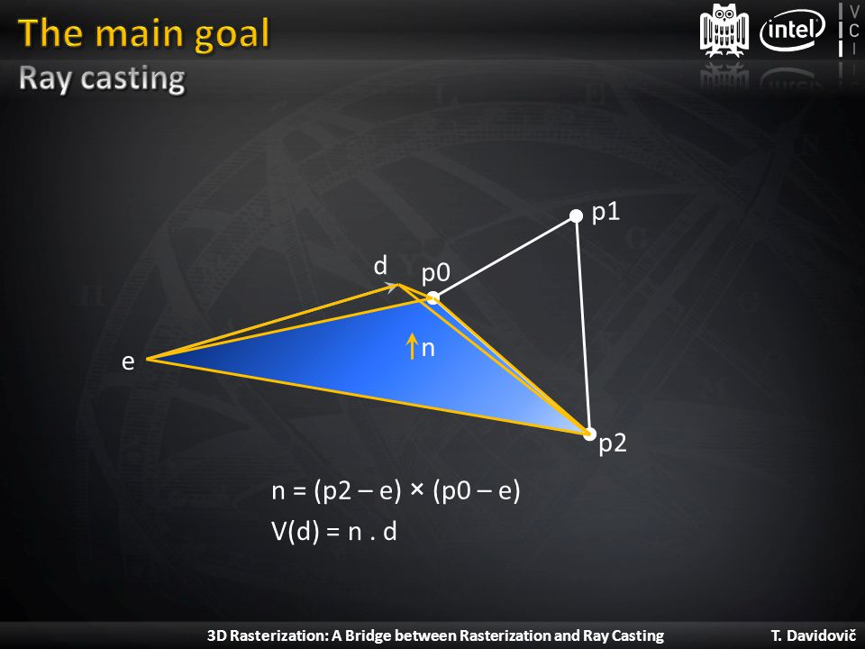 The main goal Ray casting p1 d p0 n e p2 n = (p2 – e) × (p0 – e)