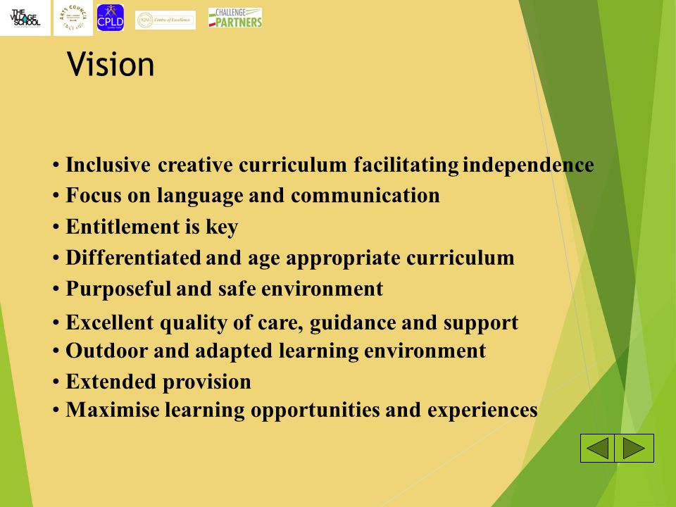 Vision Inclusive creative curriculum facilitating independence