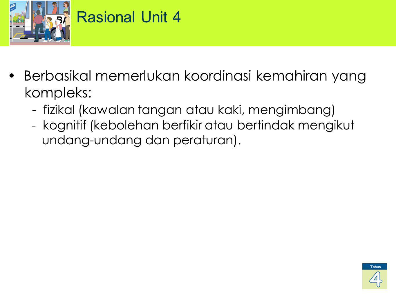 Rasional Unit 4 Berbasikal memerlukan koordinasi kemahiran yang