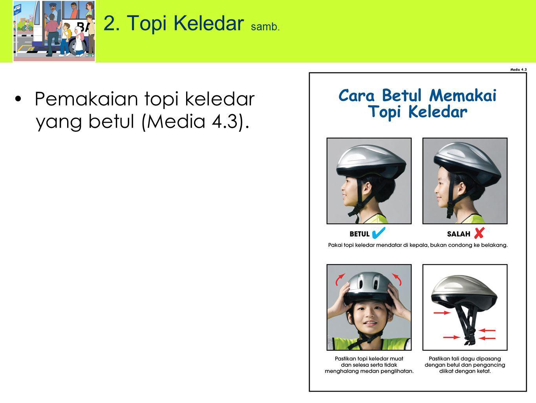 2. Topi Keledar samb. Pemakaian topi keledar yang betul (Media 4.3).