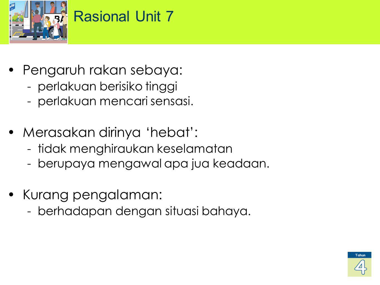 Rasional Unit 7 Pengaruh rakan sebaya: - perlakuan berisiko tinggi