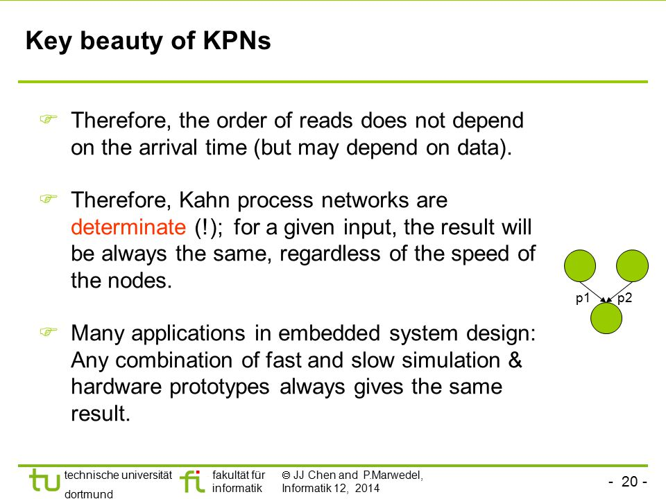 Key beauty of KPNs Therefore, the order of reads does not depend on the arrival time (but may depend on data).