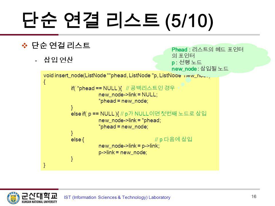 단순 연결 리스트 (5/10) 단순 연걸 리스트 삽입 연산 *phead : phead가 가리키는 위치의 내용
