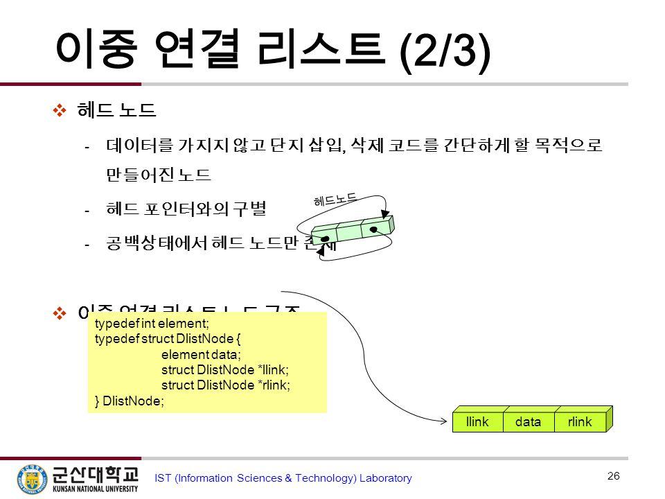 이중 연결 리스트 (2/3) 헤드 노드 이중 연결 리스트 노드 구조