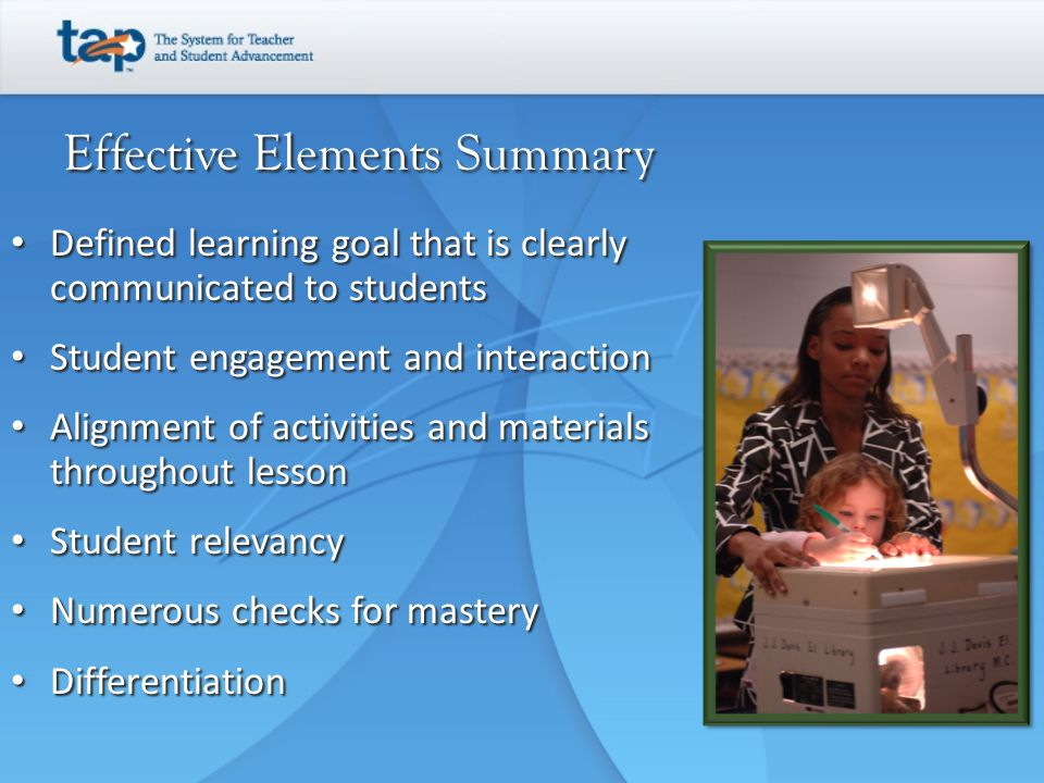 Effective Elements Summary