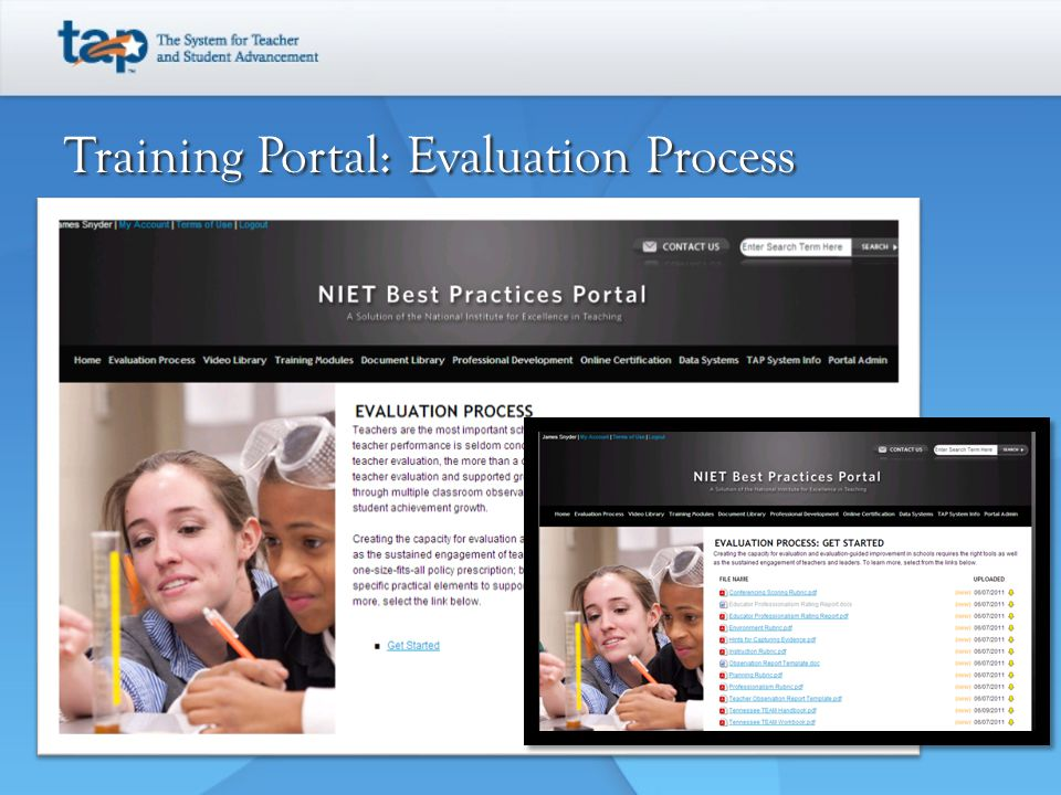 Training Portal: Evaluation Process
