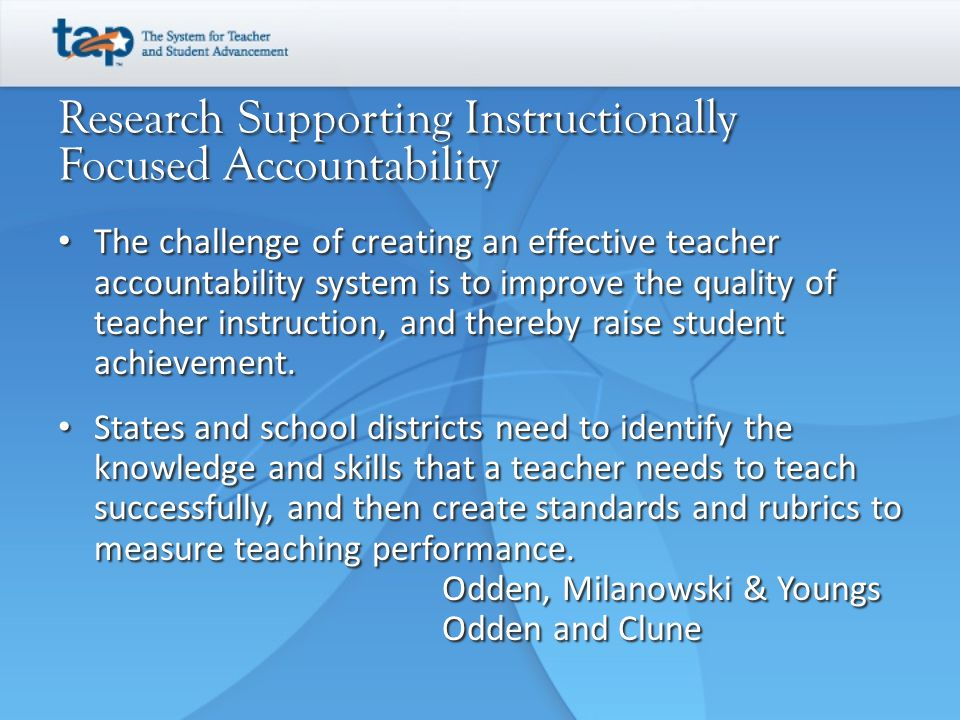Research Supporting Instructionally Focused Accountability
