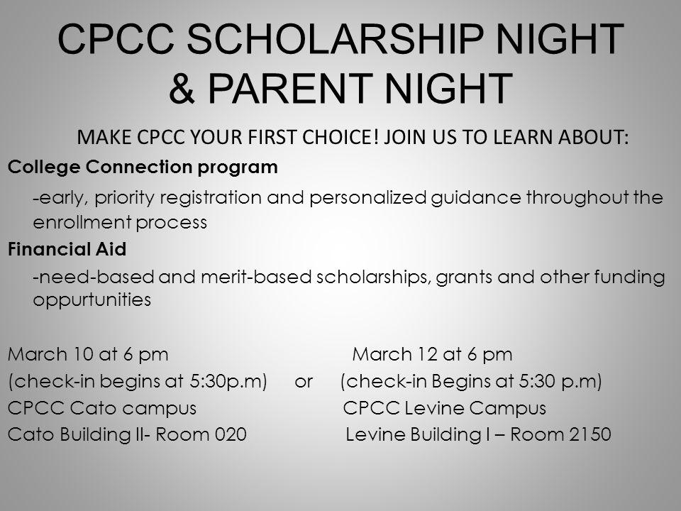 CPCC SCHOLARSHIP NIGHT & PARENT NIGHT