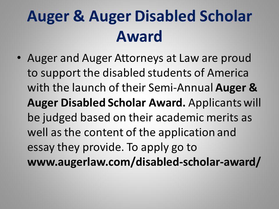 Auger & Auger Disabled Scholar Award