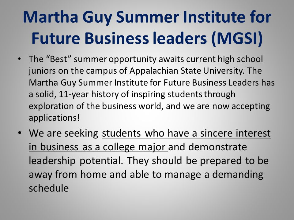 Martha Guy Summer Institute for Future Business leaders (MGSI)