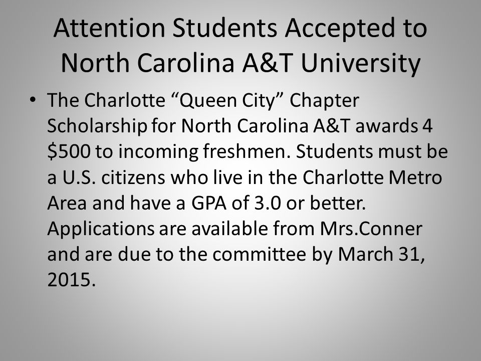 Attention Students Accepted to North Carolina A&T University