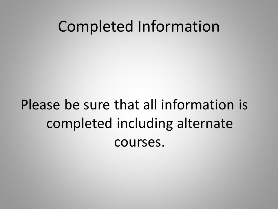 Completed Information