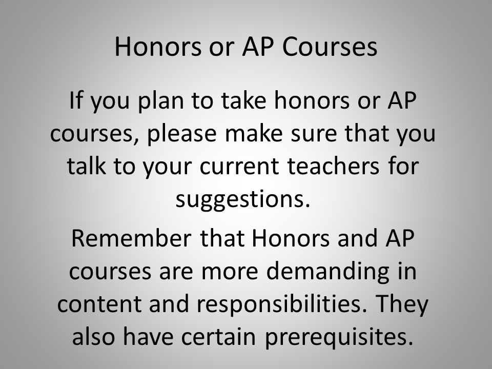 Honors or AP Courses