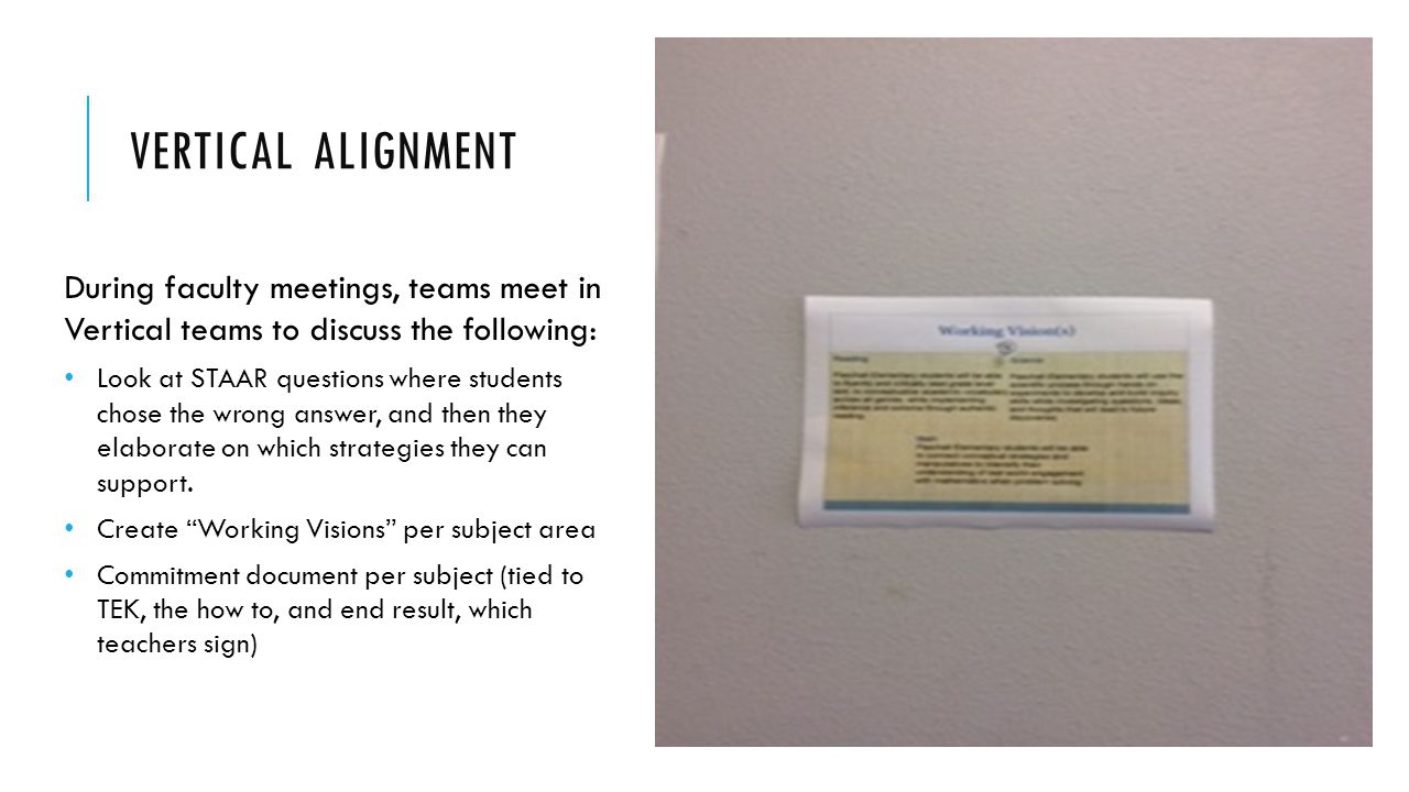 Vertical Alignment During faculty meetings, teams meet in Vertical teams to discuss the following: