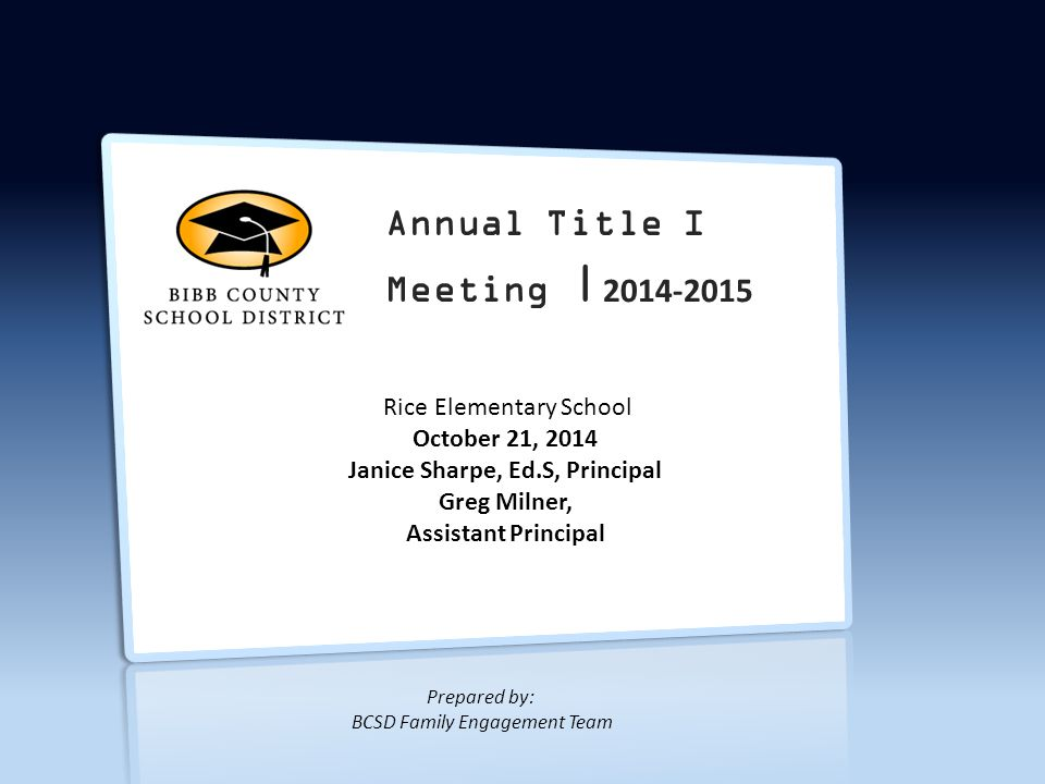October 21, 2014 Janice Sharpe, Ed.S, Principal