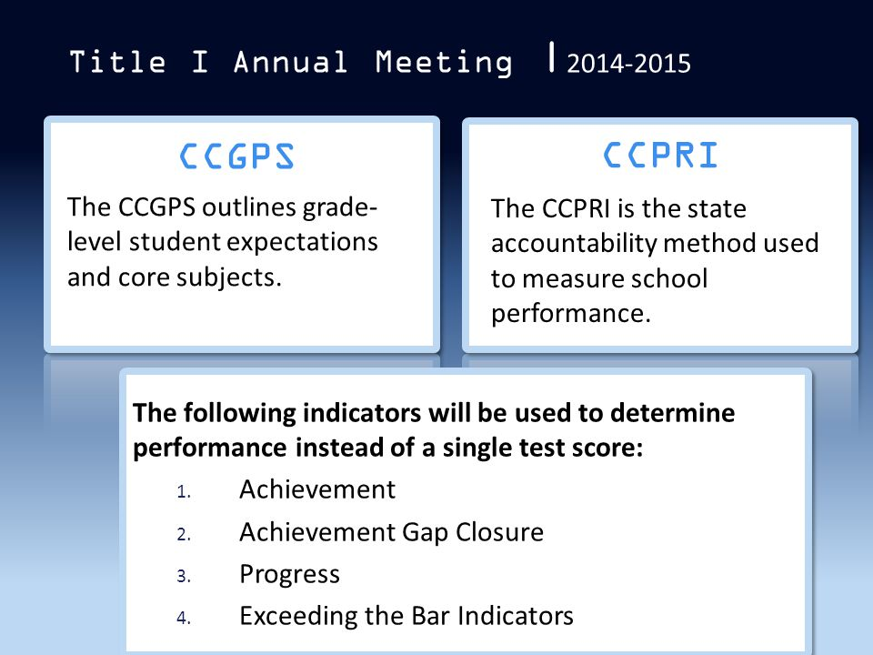 CCGPS CCPRI Title I Annual Meeting  2014-2015