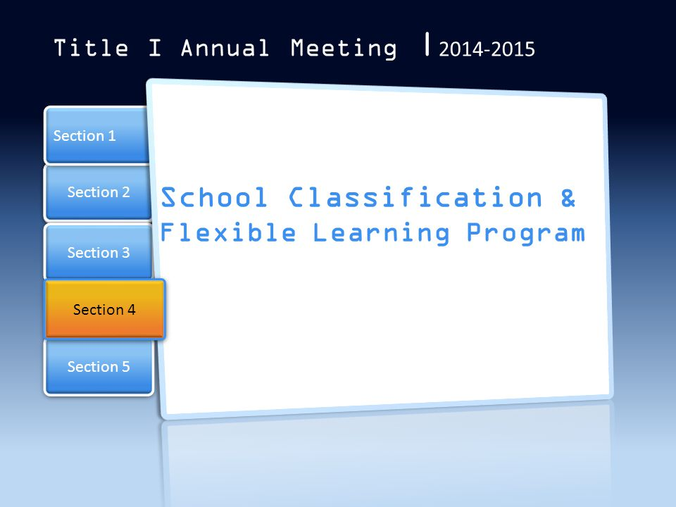 School Classification & Flexible Learning Program