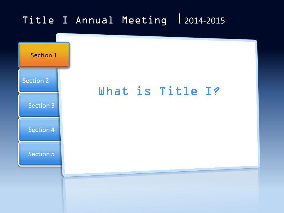 What is Title I Title I Annual Meeting |2014-2015 Section 1 Section 2