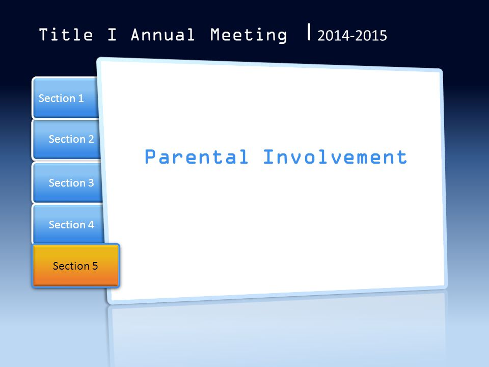 Parental Involvement Title I Annual Meeting  2014-2015 Section 1