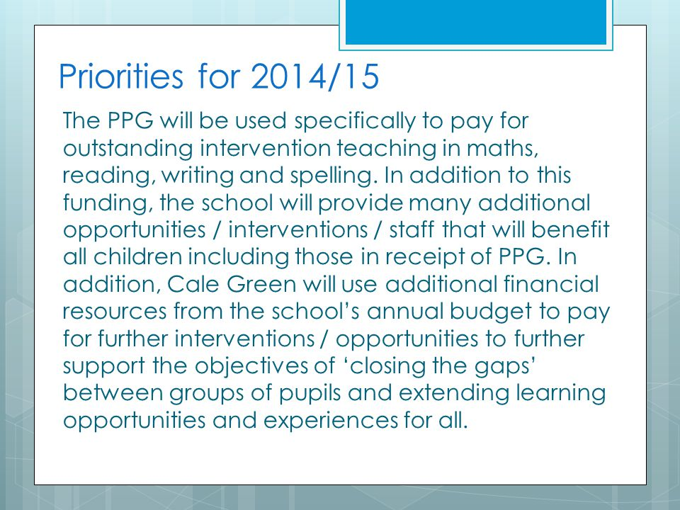 Priorities for 2014/15