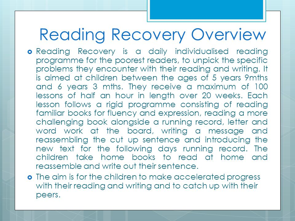 Reading Recovery Overview
