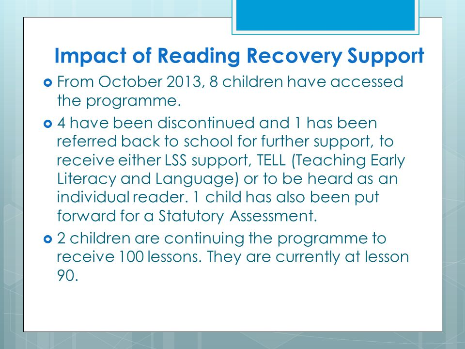 Impact of Reading Recovery Support
