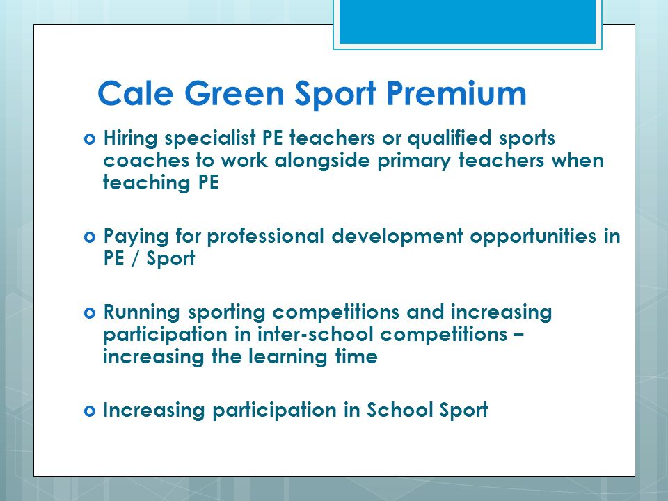 Cale Green Sport Premium