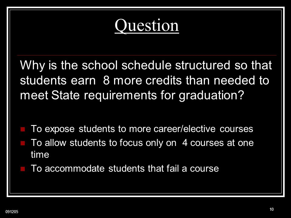 Question Why is the school schedule structured so that students earn 8 more credits than needed to meet State requirements for graduation