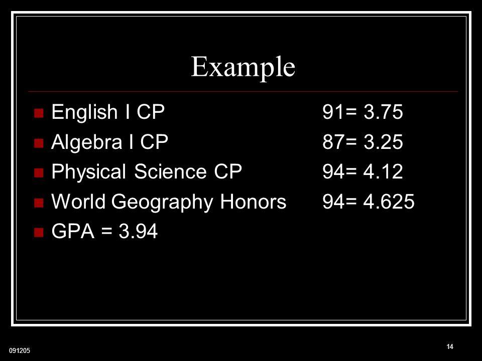 Example English I CP 91= 3.75 Algebra I CP 87= 3.25